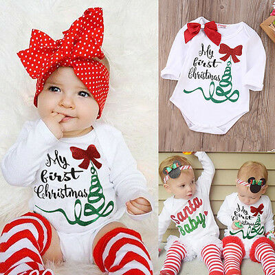New Children Newborn Infant Baby Girl Romper Jumpsuit Playsuit Christmas Outfits