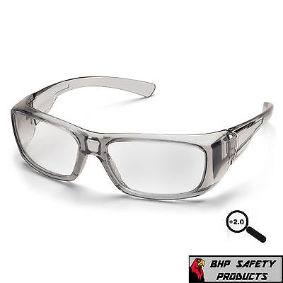 Pyramex Emerge Gray 2.0 Clear Full Magnification Reader Lens Safety Glasses 1 Pr