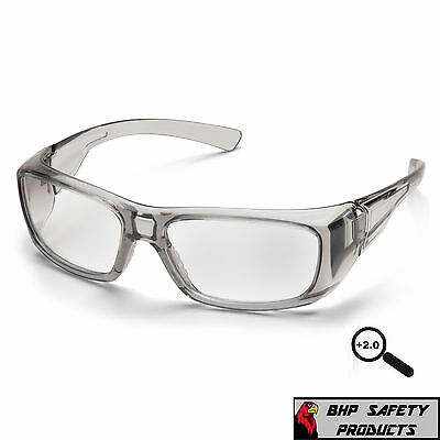 Pyramex Emerge Gray 2.0 Clear Full Reader Lens Reading Safety Glasses Z87+