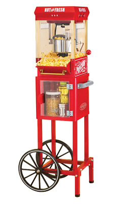 Nostalgia Electrics Popcorn Cart Machine Popper Maker Vintage Red Stand 10-Cup