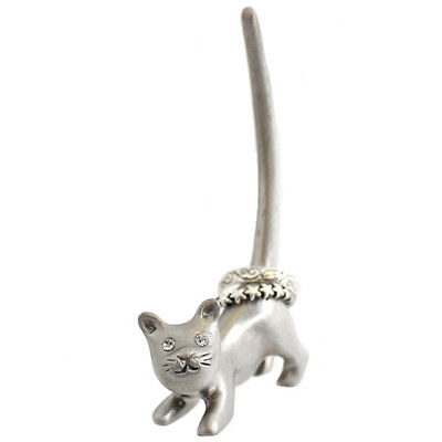 silver cat ring holder jewellery display holder 9cm tall by 5cm RH_28325