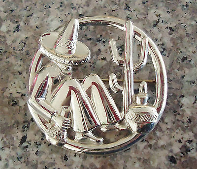 """Sterling Silver Brooch/Pin Southwest Sombero Man Cactus Mexico 5.9g - 1.75"""""""
