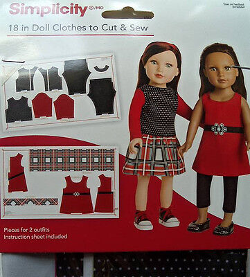 "Simplicity 18"" Doll Clothes To Cut & Sew  Trendsetter"