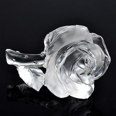 White Crystal LiuLi Fengshui Rose Paperweight Wedding Gift Collection Ornament