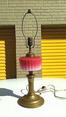 Antique Victorian style  Pink Glass  &  Brass Lamp. Vintage  Art deco. Rare