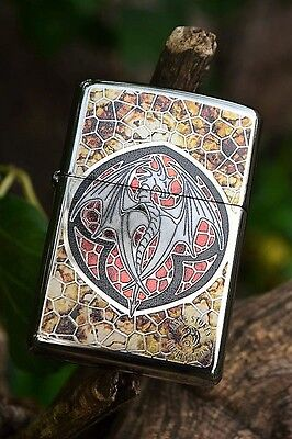 Zippo Lighter - Anne Stokes Designed Dragon - Fusion - Stained Glass - 29253