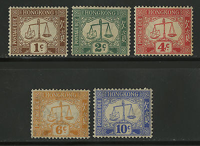 Hong Kong   1923   Scott # J1-J5   Mint Lightly Hinged Set