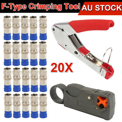 F-Type Compression Crimper Hand Tool Rotary Coaxial Cable Cutter Crimp Connector