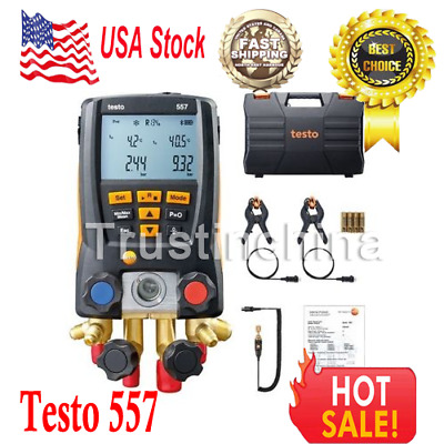 Testo 557 Refrigeration Digital Manifold Kit (0563 1557) Included Clamp Probes t