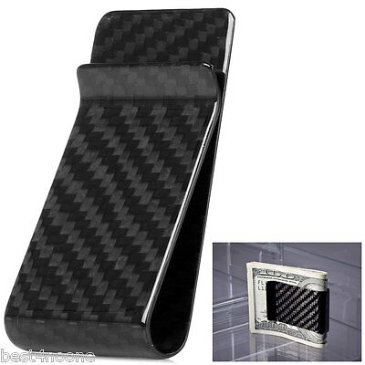 Premium Carbon Fiber Money Clip Extra Large Holding Capacity - Glossy Finish