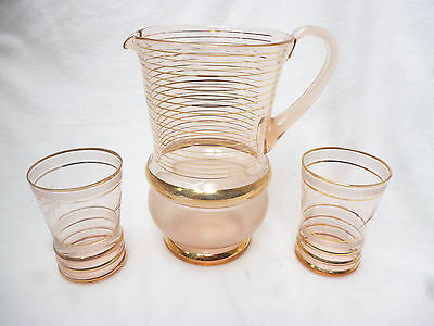 RETRO 1950s GILDED GLASS 21cm CORDIAL JUG with 2 GLASSES