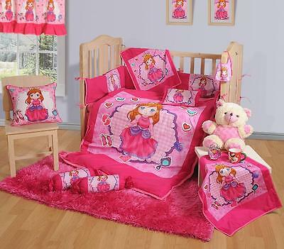 7 Pcs Digital Printed PRINCESS Pink NURSERY Cotton BABY COT SET Bumper Quilt