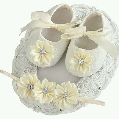 Baby Girl Ivory Christening shoes & Headband Baptism Wedding Flower Girls UK