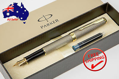 PARKER Premium Quality Chiseled Grey Fountain Pen - Boxed+Extra Refill
