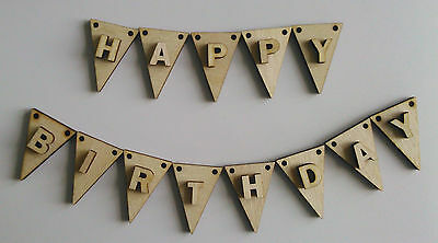 Mini 2 x 3cm WOODEN BUNTING with LETTERS Craft, Cardmaking, Cake, Wedding *New*