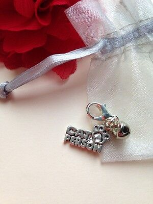 CAT PERSON Clip Charm Pet Bag Zipper Purse & Silver Bell Gift Organza Pouch
