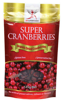 Organic Dried Cranberries 125g - Dr Superfoods