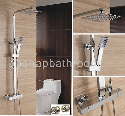 Chrome Square Adjustable Twin Head Thermostatic Exposed Valve Shower Mixer Set