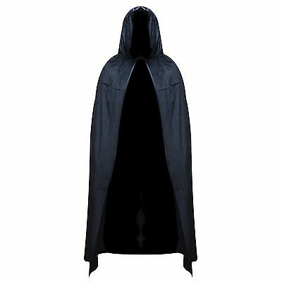 Black Velvet Hooded Halloween Fancy Dress Full Length Cape Cloak