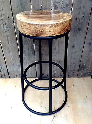 Industrial bar stool wooden top shabby vintage chic kitchen side table seat f-53