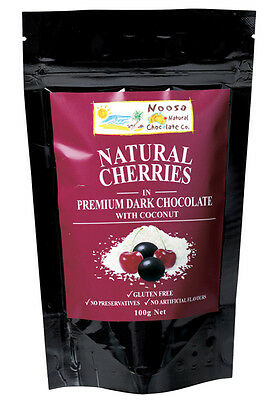 Dark Chocolate Coated Cherry Coconut 100g - Noosa Natural Chocolate Co