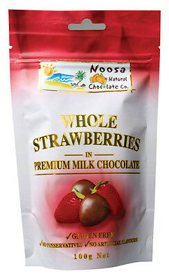 Milk Chocolate Coated Strawberries 100g - Noosa Natural Chocolate Co