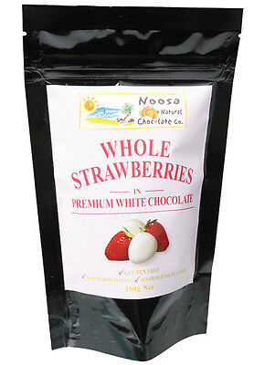 White Chocolate Coated Strawberries 100g - Noosa Natural Chocolate Co