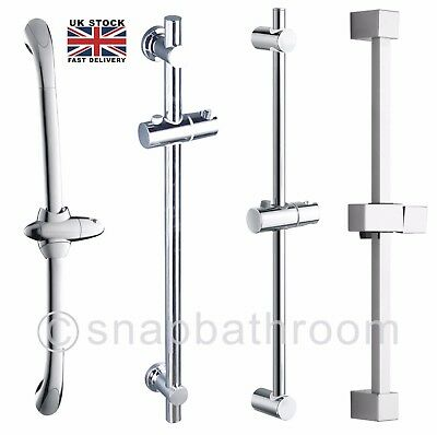 Chrome Bathroom Adjustable Shower Riser Rail Bracket Shower Head Holder Bar Kit