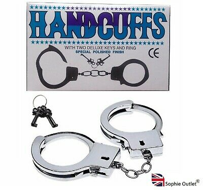 Novelty STEEL METAL HANDCUFFS + KEYS Handcuff Hen Sex Aid Stag Night Policeman