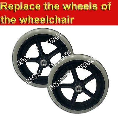 "2-Pcs 200mm (8"") Grey Rubber Small Non Marking Wheelchair Wheel Replacement"