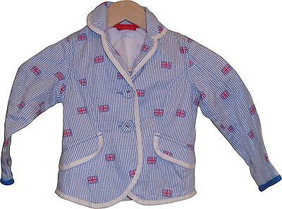 Used Girls Next Great Britain Decal Blue & White Coat Age 3-4 Years (C.E)