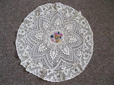 "Vintage 10"" Roound Cream Color Machine Laced Doily"