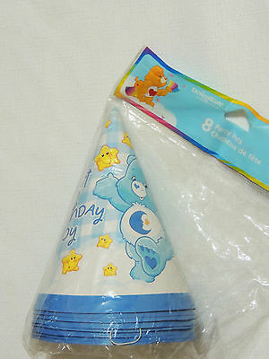 NEW CARE BEARS 1st BIRTHDAY BOY 8 PARTY HATS SUPPLIES
