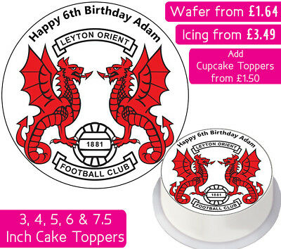 Leyton Orient Football Team Edible Wafer & Icing Personalised Cake Toppers Club