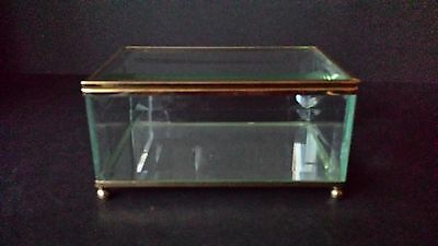 "Vintage Beveled Glass Mirrored Bottom Jewelry Casket Trinket Box 6"" X 4"""