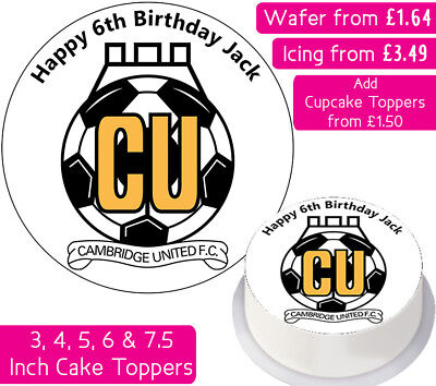 Cambridge United Football Team Edible Wafer & Icing Personalised Cake Toppers Fc