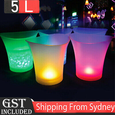 1x LED Light Ice Bucket Colours Changing RGB Wine Drinks Drinks Beer Cooler Beer