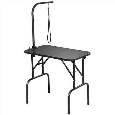 """32"""" Portable Pet Dog Grooming Table Foldable w/Adjustable Arm Noose Storage Tray"""