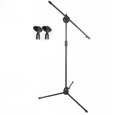Dual Mic Clip Telescoping Microphone 360 Degree Stand Tripod Stage Studio Holder