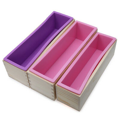 1200g / 900g Rectangle Silicone Soap Loaf Mold Wooden Box DIY Making Tools
