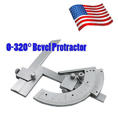 Universal 0-320° Precision Angle Measuring Finder Bevel Protractor Tool w/ Case
