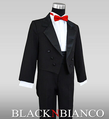 Boys Kids Tuxedo with Tail in Black For All Ages with a Red Bow Tie