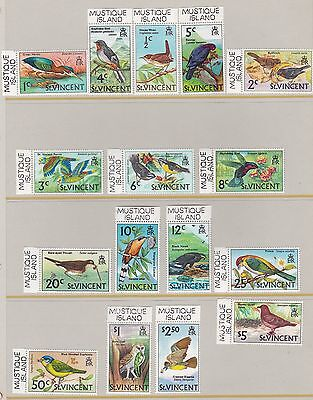 St Vincent 1970  S G 285 - 300  Bird Set With Mustique Island Tab Mnh