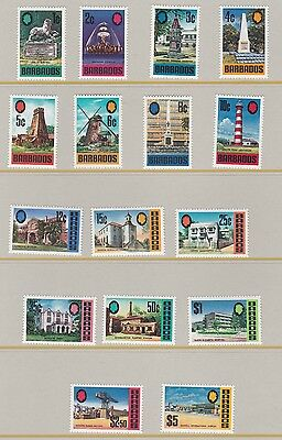 Barbados  1970  S G 399 - 414  Landmark Set Of 16 Mnh