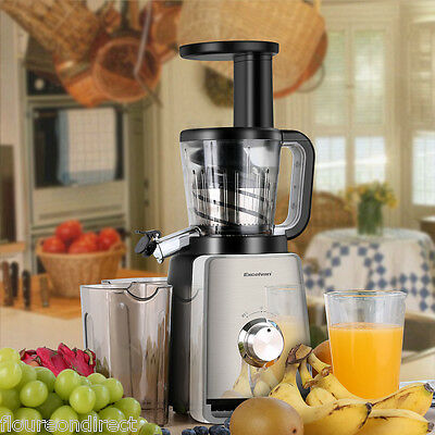 Double Edged Masticating Slow Juicer Cold Press Fruit Vegetable Juice Extractor