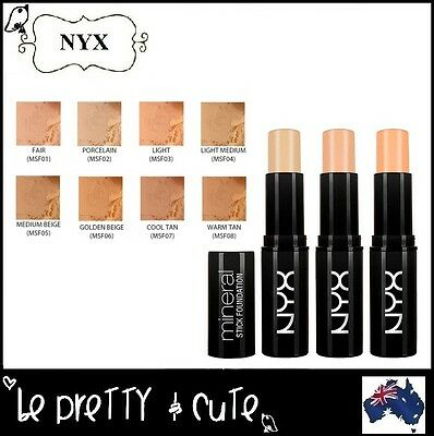 NYX MINERAL STICK FOUNDATION MSF Full Coverage Full Size 6g Free AU Shipping