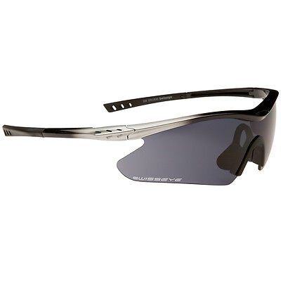 Swiss Eye F-16 Tactical Sports Exercise Sunglasses Silver/Black Frame + 3 Lenses