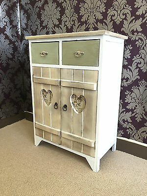 French Chic Cupboard Rustic White Wooden Vintage Heart Storage Unit Shelf