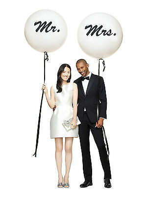 Set of 2 Mr Mrs Balloons Giant 36 inch 3 feet Round Helium