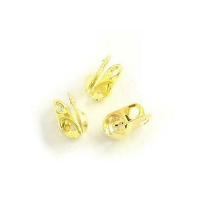 Pack of 225+ Gold Plated Iron 3mm Bead Tips Clamshells Calottes HA11755